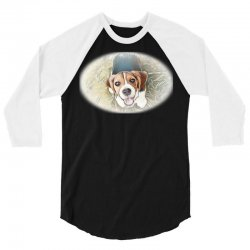 Beagle puppy sitting on green 3/4 Sleeve Shirt | Artistshot