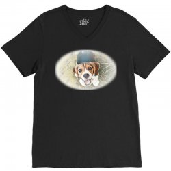 Beagle puppy sitting on green V-Neck Tee | Artistshot