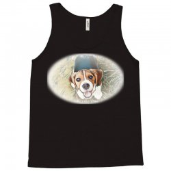 Beagle puppy sitting on green Tank Top | Artistshot