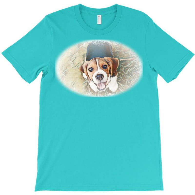 Beagle Puppy Sitting On Green T-shirt | Artistshot