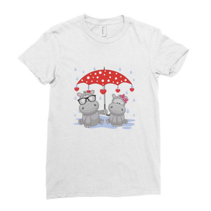 Hippopotamus Love Ladies Fitted T-shirt Designed By Estore