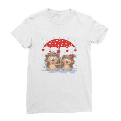 Hedgehog Love Ladies Fitted T-shirt Designed By Estore