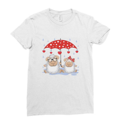 Sheep Love Ladies Fitted T-shirt Designed By Estore