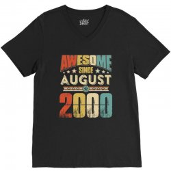 awesome since august 2000 shirt V-Neck Tee | Artistshot