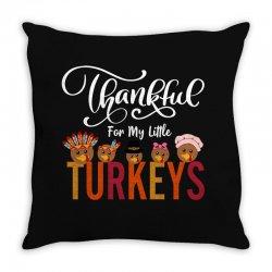 Thankful For My Little Turkeys For Dark Throw Pillow Designed By Sengul