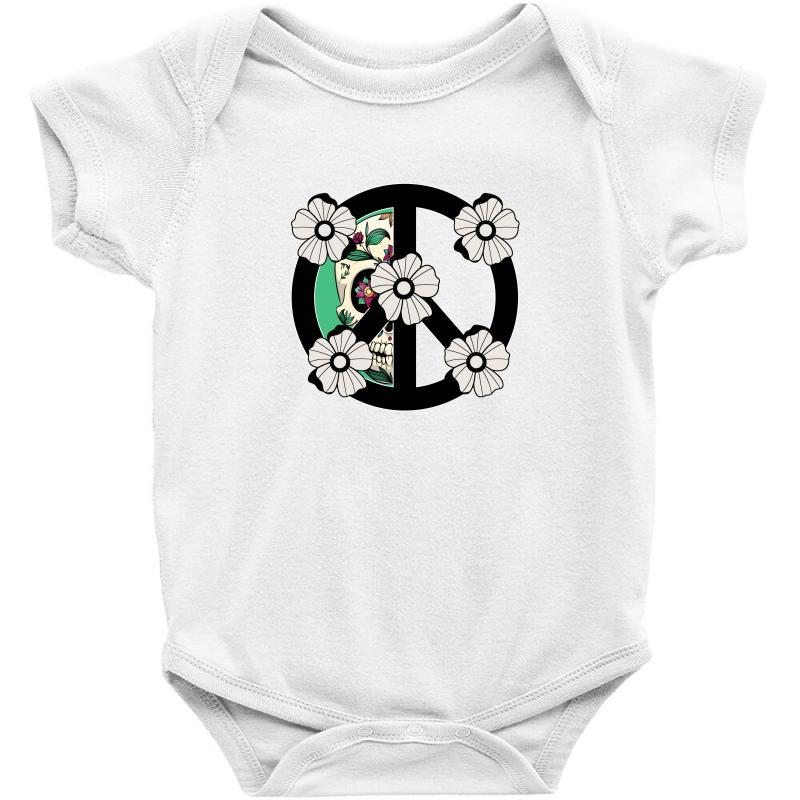 Peace Skull For Light Baby Bodysuit   Artistshot