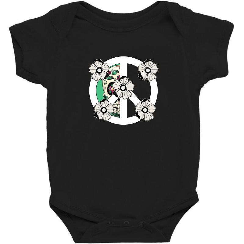Peace Skull For Dark Baby Bodysuit | Artistshot