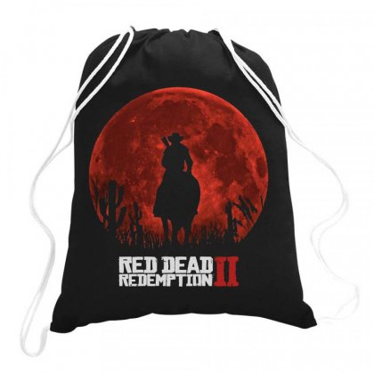 Red Dead Redemption 2   Red Moon   Cowboy Drawstring Bags Designed By Jessicafreya