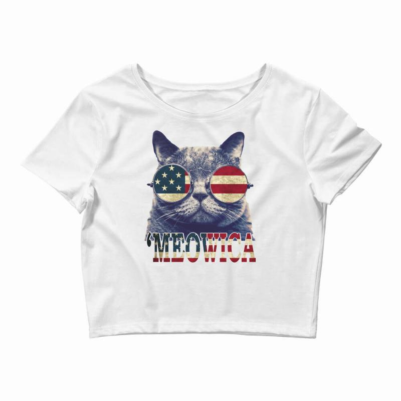 4th Of July Tshirt Cat Meowica Crop Top   Artistshot