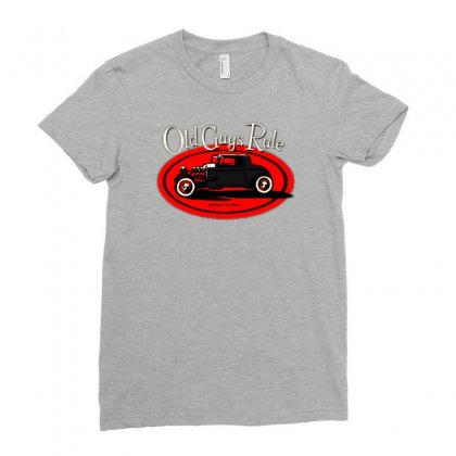 Old Guys Rule Classic Rat Rod Smoke Ladies Fitted T-shirt Designed By Lyly