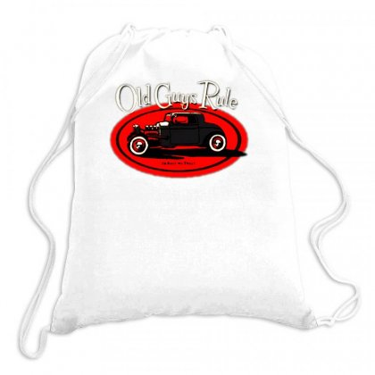 Old Guys Rule Classic Rat Rod Smoke Drawstring Bags Designed By Lyly