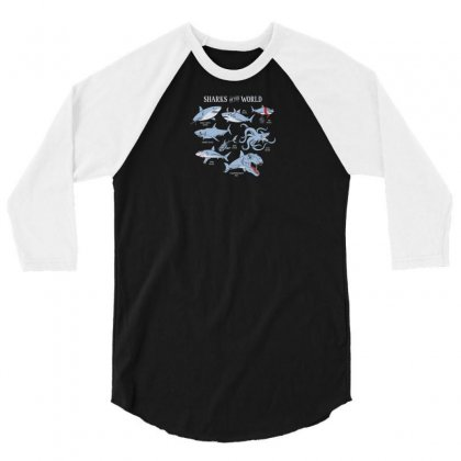 Sharks Of The World 3/4 Sleeve Shirt Designed By Rendi
