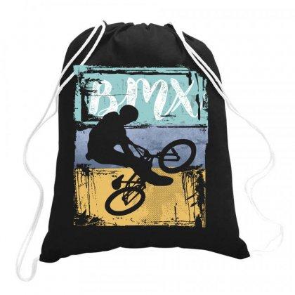 Bmx Tee - Vintage Retro Bmx Bike Rider Drawstring Bags Designed By Cidolopez