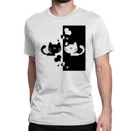 Black & White Cats Classic T-shirt Designed By Estore