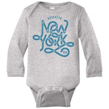 Brooklyn New York Usa Long Sleeve Baby Bodysuit Designed By Designisfun