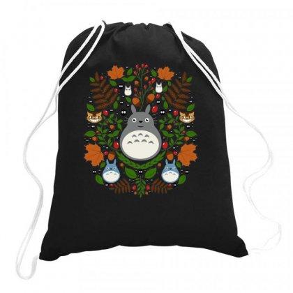 Totoro Cute Floral Drawstring Bags Designed By Rakuzan