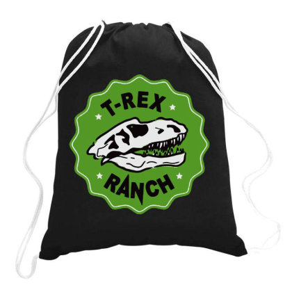 T Rex Ranch Drawstring Bags Designed By Jablay