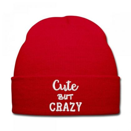 Cute But Crazy Embroidered Hat Knit Cap Designed By Madhatter