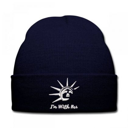 I'm With Her Embroidered Hat Knit Cap Designed By Madhatter