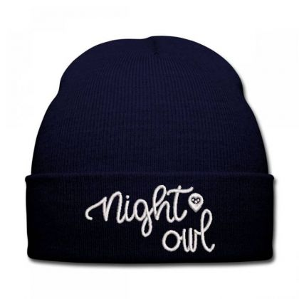 Night Owl Embroidered Hat Knit Cap Designed By Madhatter