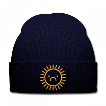 Sad Sun Embroidered Hat Knit Cap Designed By Madhatter