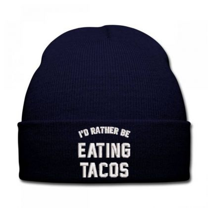 Eating Tacos Embroidered Hat Knit Cap Designed By Madhatter