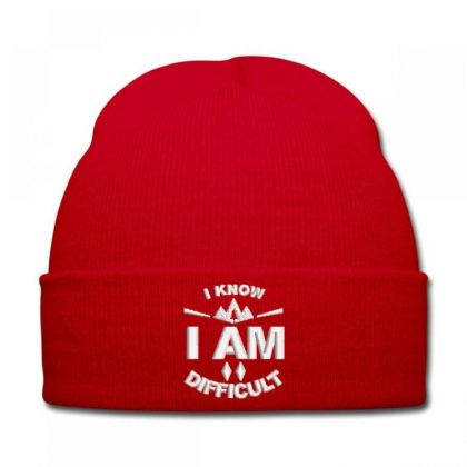 I Am Difficult Embroidered Hat Knit Cap Designed By Madhatter