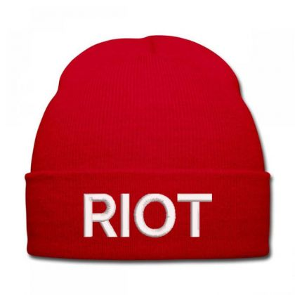 Riot Embroidered Hat Knit Cap Designed By Madhatter