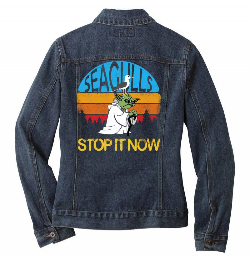 Retro Vintage Seagulls Stop It Now Ladies Denim Jacket | Artistshot