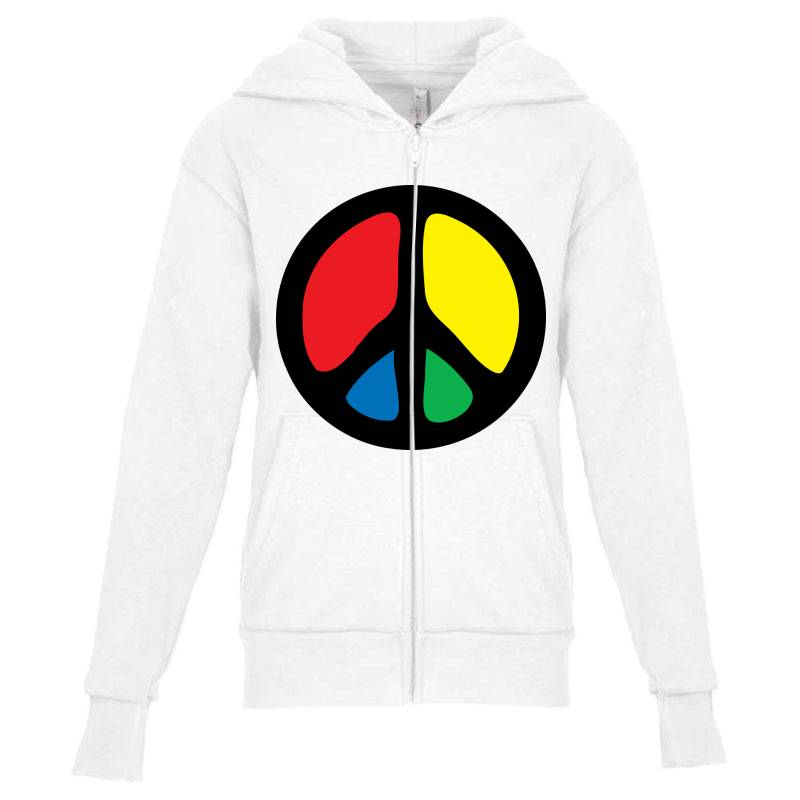 Peace Logo Youth Zipper Hoodie | Artistshot