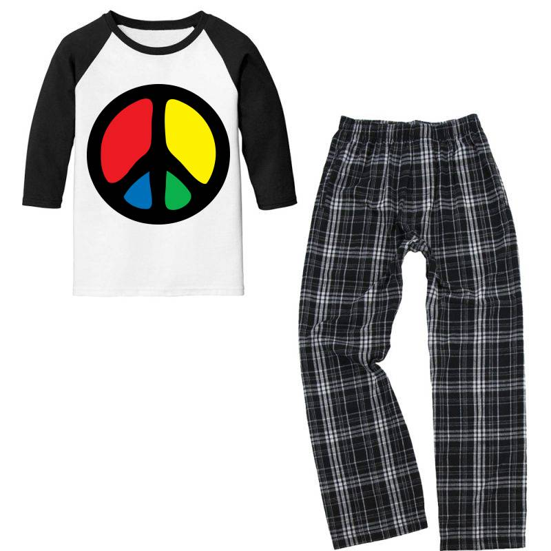 Peace Logo Youth 3/4 Sleeve Pajama Set | Artistshot