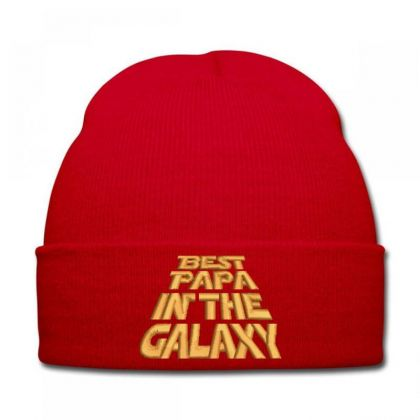 Best Papa In The Galaxy Embroidered Hat Knit Cap Designed By Madhatter