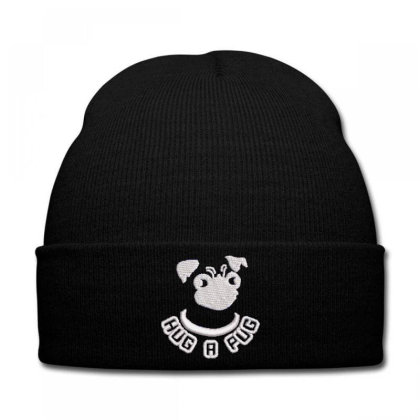 Hug A Pug Embroidered Hat Knit Cap Designed By Madhatter