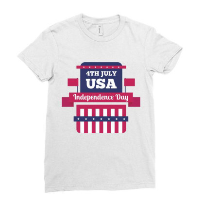 Independence Day Usa Ladies Fitted T-shirt Designed By Estore