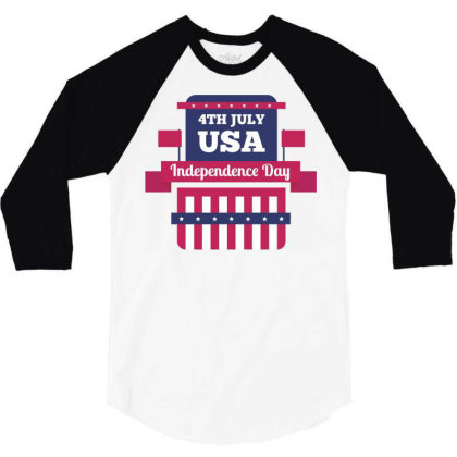 Independence Day Usa 3/4 Sleeve Shirt Designed By Estore