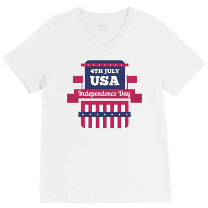 Independence Day Usa V-neck Tee Designed By Estore