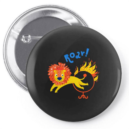 A Roar Lion Jumping Through A Ring Of Fire Pin-back Button Designed By Just4you