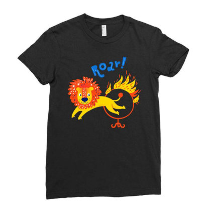 A Roar Lion Jumping Through A Ring Of Fire Ladies Fitted T-shirt Designed By Just4you