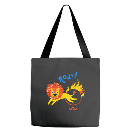 A Roar Lion Jumping Through A Ring Of Fire Tote Bags Designed By Just4you