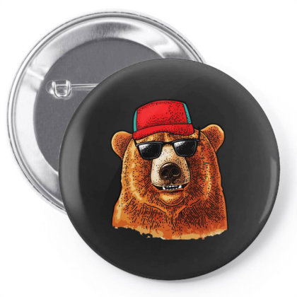 Bear Dressed In A Baseball Cap Sunglasses Pin-back Button Designed By Just4you