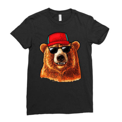 Bear Dressed In A Baseball Cap Sunglasses Ladies Fitted T-shirt Designed By Just4you