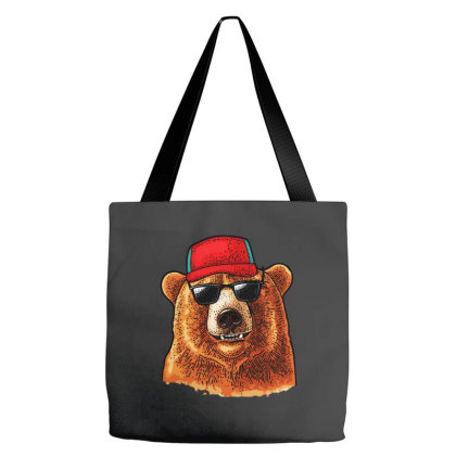 Bear Dressed In A Baseball Cap Sunglasses Tote Bags Designed By Just4you