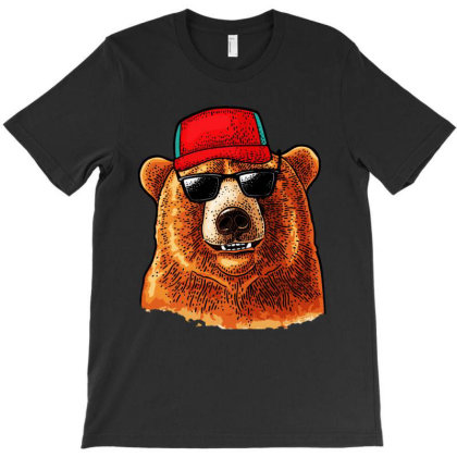 Bear Dressed In A Baseball Cap Sunglasses T-shirt Designed By Just4you
