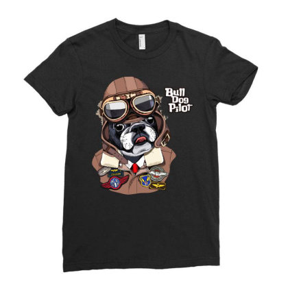 Bulldog Pilot Ladies Fitted T-shirt Designed By Just4you