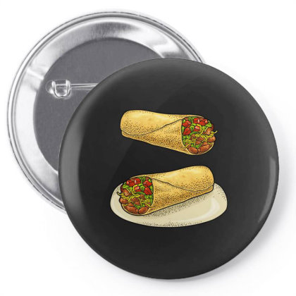 Burrito   Mexican Traditional Food. Pin-back Button Designed By Just4you