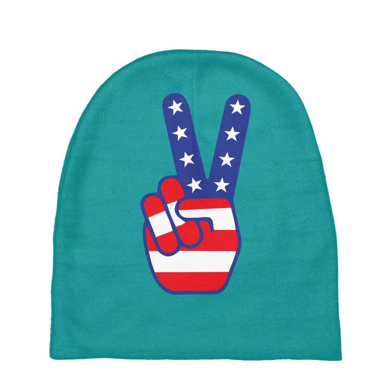 Peace Sign Hand Baby Beanies | Artistshot