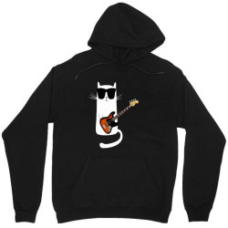 Funny Cat Wearing Sunglasses Playing Bass Guitar Unisex Hoodie | Artistshot