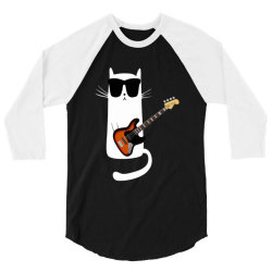 Funny Cat Wearing Sunglasses Playing Bass Guitar 3/4 Sleeve Shirt | Artistshot