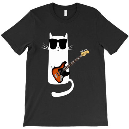 Funny Cat Wearing Sunglasses Playing Bass Guitar T-shirt Designed By Mrt90