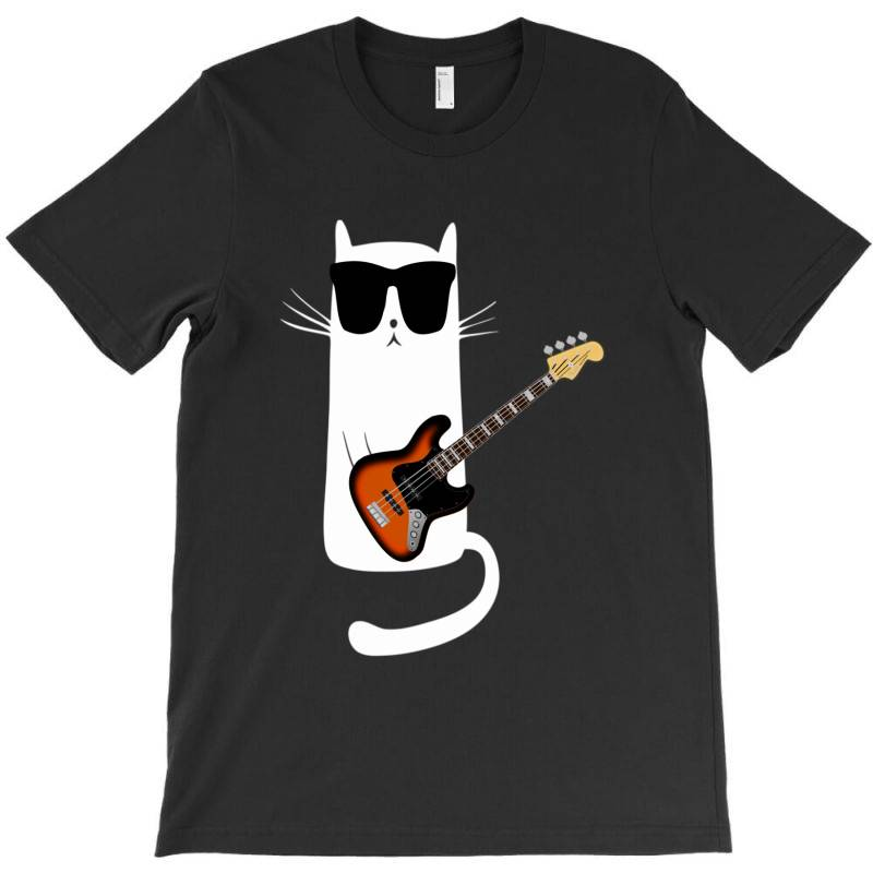 Funny Cat Wearing Sunglasses Playing Bass Guitar T-shirt | Artistshot